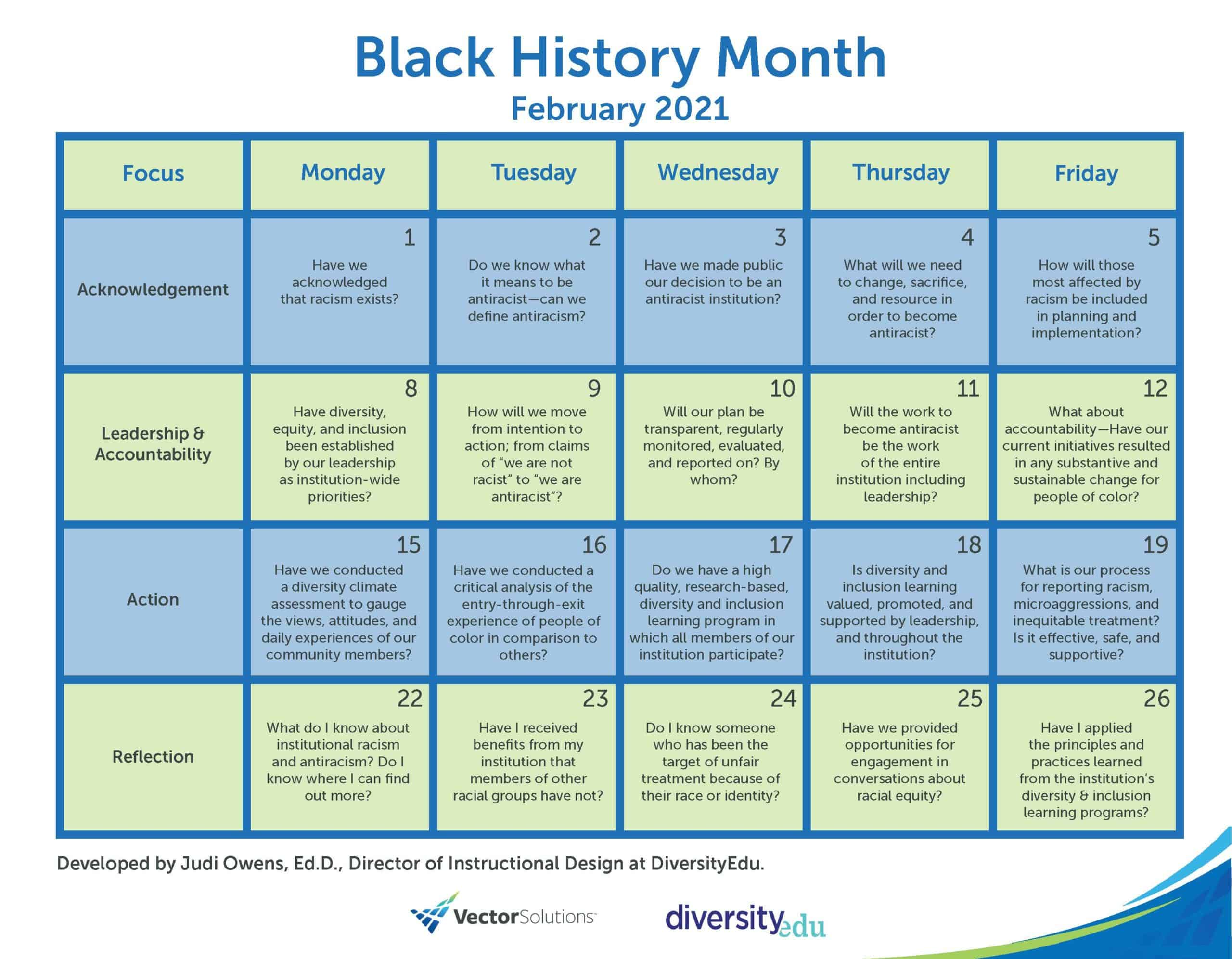 Vector Solutions Black History Month Reflection Calendar